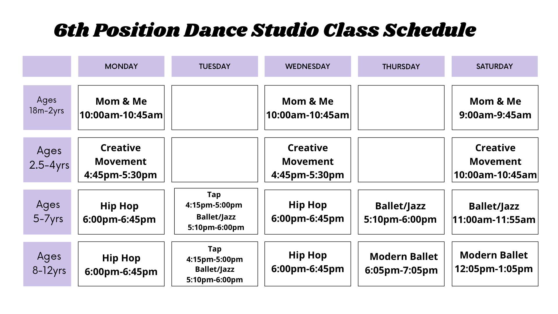 6th Position Dance Studio Class Schedule